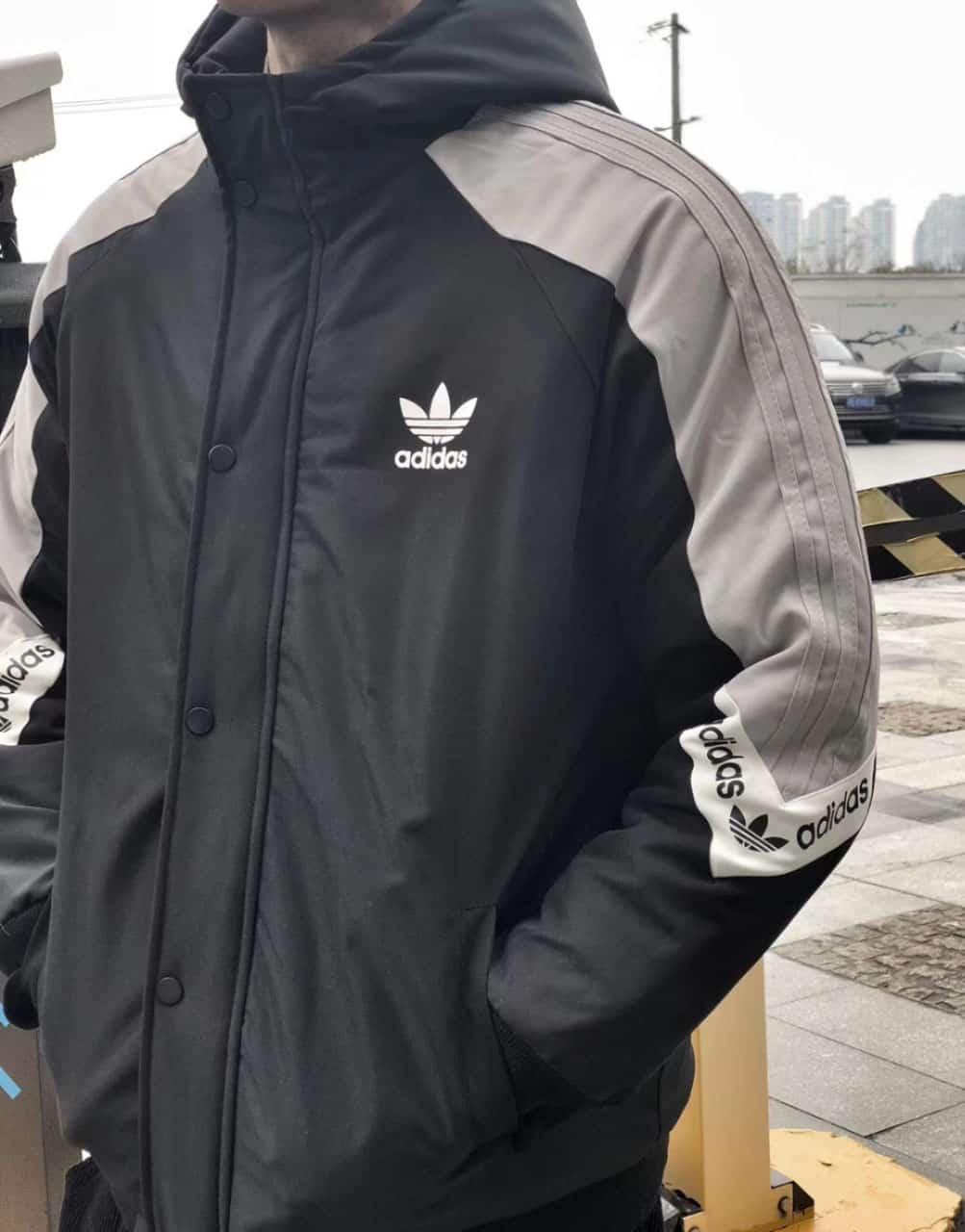 espada Acompañar lb  Cortavientos Adidas Grey Black Classic — TrapXShop